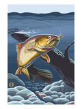 Trout Underwater Art by  Lantern Press