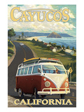 Cayucos, California - VW Van Coastal Drive Poster by  Lantern Press