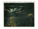 Cleveland, Ohio - Lighthouse, Harbor Entrance from Ocean at Night Print by Lantern Press 