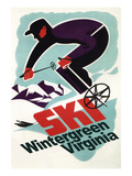 Wintergreen, Virginia - Vintage Skier Art by  Lantern Press