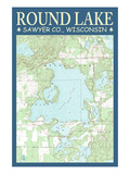 Round Lake Chart - Sawyer County, Wisconsin Prints by  Lantern Press
