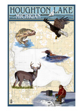 Houghton Lake, Michigan - Lake Chart Prints by  Lantern Press