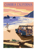 Cambria, California - Woody on Beach Posters by  Lantern Press