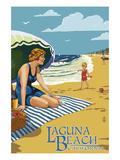 Laguna Beach, California - Woman on the Beach Prints by  Lantern Press