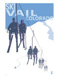 Vail, CO - Ski Lift Art by Lantern Press 