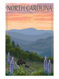 North Carolina - Bear and Cubs with Spring Flowers Posters by  Lantern Press