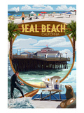 Seal Beach, California - Montage Scenes Art by Lantern Press