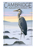 Cambridge, Maryland - Blue Heron and Fog Print by  Lantern Press