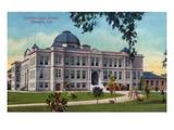 Stockton, California - Exterior View of Stockton High School Art by  Lantern Press