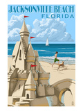 Jacksonville Beach, Florida - Sandcastle Scene Art by  Lantern Press
