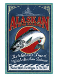 Ketchikan, Alaska - Salmon Art by Lantern Press 