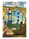 Guardians of the Atlantic Lighthouses - Outer Banks, North Carolina Print by  Lantern Press