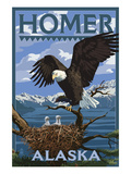 Bald Eagle and Eaglets - Homer, Alaska Poster by Lantern Press 