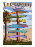 Los Angeles, California - Destination Sign Posters by  Lantern Press