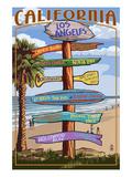 Los Angeles, California - Destination Sign Art by  Lantern Press