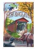 New England - Montage Scenes Art par  Lantern Press