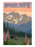Hungry Horse, Montana - Bear Family and Spring Flowers Art by Lantern Press 