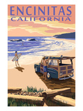 Encinitas, California - Woody on Beach Prints by  Lantern Press