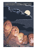 Black Hills, South Dakota - Rushmore at Night Posters by  Lantern Press