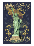 Statue of Liberty National Monument - New York City, NY - Blue Prints by  Lantern Press
