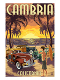 Cambria, California - Woodies and Sunset Poster by  Lantern Press