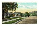 San Bernardino, California - View Along Arrowhead Avenue Poster von  Lantern Press