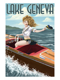 Lake Geneva, Wisconsin - Pinup Girl Boating Print by  Lantern Press