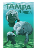 Tampa, Florida - Manatees Affiches par Lantern Press 