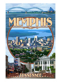 Memphis, Tennessee - Memphis Montage Poster by  Lantern Press
