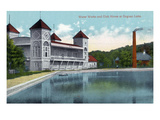 Battle Creek, Michigan - Goguac Lake Water Works and Clubhouse Exterior Print by Lantern Press