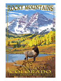 Maroon Bells - Rocky Mountain National Park Print by  Lantern Press