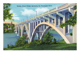 Knoxville, Tennessee - View of the Henley Street Bridge Spanning the Tennessee River Poster by  Lantern Press