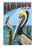 Fairhope, Alabama - Pelican Scene Prints by  Lantern Press