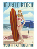 Myrtle Beach, South Carolina - Pinup Girl Surfing Prints by  Lantern Press