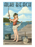 Fishing Pinup Girl - Alki Beach - Seattle, Wa Prints by  Lantern Press
