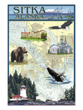 Sitka, Alaska - Nautical Chart Art by  Lantern Press