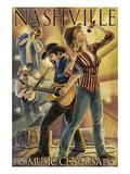 Nashville, Tennessee - Country Band Scene Art par  Lantern Press