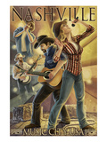 Nashville, Tennessee - Country Band Scene Art by  Lantern Press
