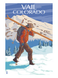 Vail, CO - Skier Carrying Skis Posters by Lantern Press