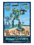 Huntington Beach, California vs. The Atlantean Invaders Prints by  Lantern Press