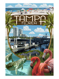 Tampa, Florida - Montage Posters par Lantern Press