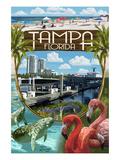 Tampa, Florida - Montage Poster von  Lantern Press