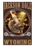 Cowgirl and Mechanical Bull - Jackson Hole, WY Poster by  Lantern Press