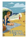 Hermosa Beach, California - Woman on Beach Prints by  Lantern Press