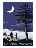 Elk Rapids, Michigan - Bonfire at Night Scene Art by  Lantern Press