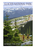 Glacier National Park - Going to the Sun Road and Hikers Kunstdrucke von  Lantern Press