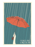Portland, Oregon - Umbrella Affiche par Lantern Press 