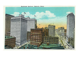 Detroit, Michigan - Aerial View of Downtown Art by Lantern Press