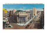 Winnipeg, Manitoba - Main Street South, Bank of Montreal and Dominion Public Bldg Posters by  Lantern Press