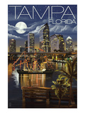 Tampa, Florida - Skyline at Night Prints by  Lantern Press